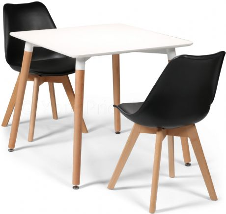 Toulouse Tulip Eiffel Designer Dining Set White Square Table & 2 Black Chairs Sale Now On Your Price Furniture
